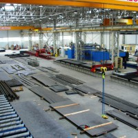 Overall view on a welding line completely installed in working facilities of a customer