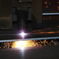 A detail of plasma cutting process